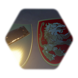 Painted lion shield