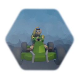 Sofia in a go kart inproved version