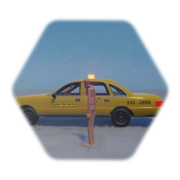 Cyber City Cab Co. taxi cab with jump in and drive puppet logic