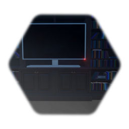 Bookshelf with working TV, muted