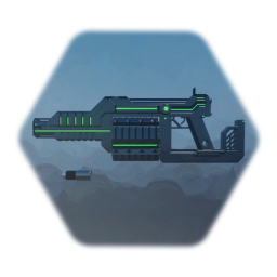 Futuristic grenade launcher with animations and effects
