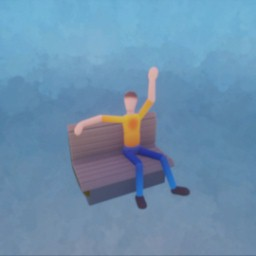 Puppet - Posed/Animated - Waving from Park Bench
