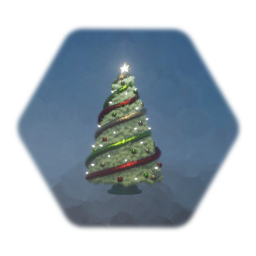 Christmas Tree - Green, Red & Gold Theme, Winter White Lights