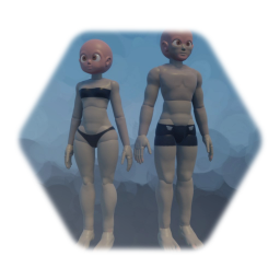Male and female body template (+4 fingers ver.)