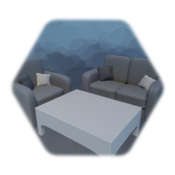 Minimalist Chair Couch and Coffee Table
