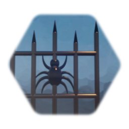 Spider Decorated Iron Fence Piece