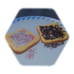 Plate with chocolate sprinkles on bread
