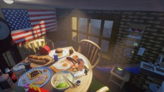 American meal table