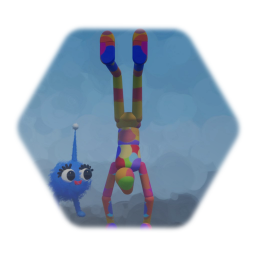 Rainbow upside down man and imp chicken